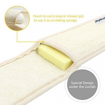 Luffaschwamm Rückenscrubber für Bad und Dusche bei DigHealth, Luffa Körperpad mit Rücken Gurt, 100% Luffa Natur Schwamm, Körper und Gesichts Peeling Set - 5