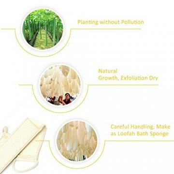 Luffaschwamm Rückenscrubber für Bad und Dusche bei DigHealth, Luffa Körperpad mit Rücken Gurt, 100% Luffa Natur Schwamm, Körper und Gesichts Peeling Set - 6