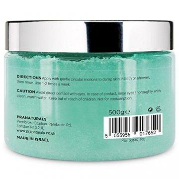 PraNaturals Erfrischender Körperpeeling Body Scrub aus dem Toten Meer 500g, 100% Bio, nahrhaftes Hautpeeling, Salzpeeling, reich an natürlichen Mineralstoffen für alle Hauttypen, mit Mango und Kiwifruchtöl vermischt - 3