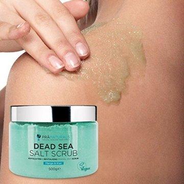 PraNaturals Erfrischender Körperpeeling Body Scrub aus dem Toten Meer 500g, 100% Bio, nahrhaftes Hautpeeling, Salzpeeling, reich an natürlichen Mineralstoffen für alle Hauttypen, mit Mango und Kiwifruchtöl vermischt - 7