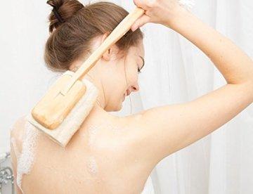 Luffa Rückenbürste Körperbürste Badebürste Rückenschrubber mit langem Holz-Stiel (abnehmbar), Dusch- Bad und Sauna Bürste für Körper und Rücken mit Anti-Cellulite Effekt für eine schöne Haut, Wellness für Männer & Frauen, vegan - 5
