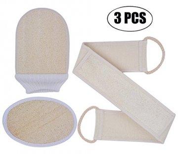 Luffaschwämme, Kapmore 3-in-1 Luffaschwamm Rückenscrubber Luffa Handschuhe und Loofah pad für Bad und Dusche, loofah Schwamm mit Rücken Gurt, 100% Luffa Natur Schwamm, Körper Peeling Set - 1