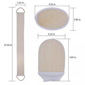 Luffaschwämme, Kapmore 3-in-1 Luffaschwamm Rückenscrubber Luffa Handschuhe und Loofah pad für Bad und Dusche, loofah Schwamm mit Rücken Gurt, 100% Luffa Natur Schwamm, Körper Peeling Set - 8