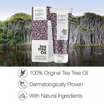 Australian Bodycare Intim Balm - After Shave balsam für eine unbeschwerte Intimrasur. Das enthaltene natürliche Teebaumöl minimiert Rasurbrand und Pickel im Intimbereich von Frauen und Männern, 100ml - 6