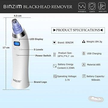 Mitesserentferner Extractor, BINZIM Elektrischer Wiederaufladbare Vakuum Nase Poren Reiniger und Mitesser Sauger Akne Entferner Gerät, USB-Aufladung Und 4 Austauschbaren Reinigungsaufsätzen (FDhty001) - 2