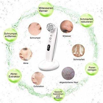 Mitesserentferner,Proenreiniger mit 6 Saugstärken, Blackhead Remover mit 4 verschiedene Funktionsköpfe,um Mitesser, Akne, Whiteheads effektiv zu entfernen,auch poren reinigung und derma suction - 3