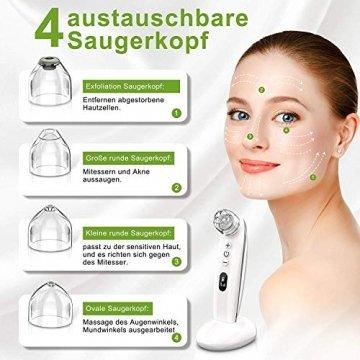 Mitesserentferner,Proenreiniger mit 6 Saugstärken, Blackhead Remover mit 4 verschiedene Funktionsköpfe,um Mitesser, Akne, Whiteheads effektiv zu entfernen,auch poren reinigung und derma suction - 4