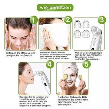 Mitesserentferner,Proenreiniger mit 6 Saugstärken, Blackhead Remover mit 4 verschiedene Funktionsköpfe,um Mitesser, Akne, Whiteheads effektiv zu entfernen,auch poren reinigung und derma suction - 6