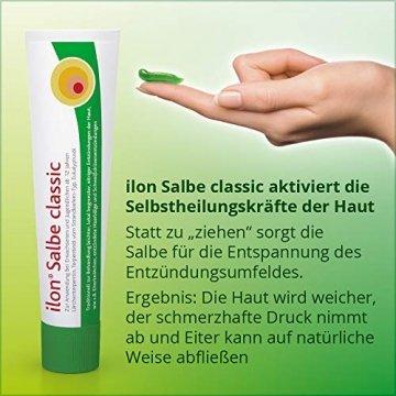 ilon Salbe classic 25g – die grüne Zugsalbe gegen Hautentzündungen bis hin zu kleineren Abszessen, Haarbalgentzündungen oder Schweißdrüsenentzündungen. Natürlich sanft zur Haut mit einzigartiger pflanzlicher Wirkstoffkombination - 7